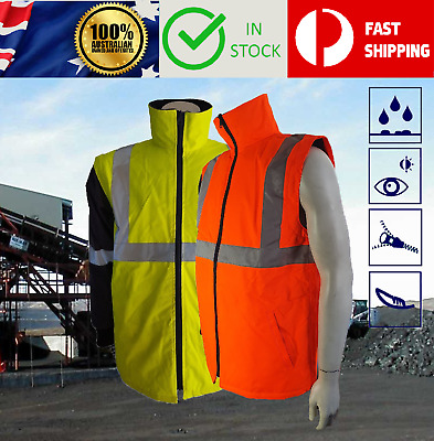 Hi Vis Safety Waterproof Bomber Rain Jacket Coat Vest Reflective Tape Day Night
