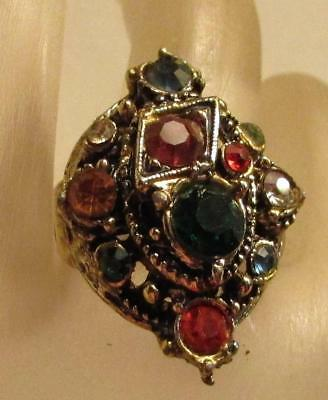 Vintage 60's Chunky Glass Crystal Rhinestone Cocktail Adjustable Ring
