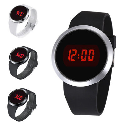 Fashion Waterproof Mens Watch LED Touch Screen Date Silicone Wrist Black Watch