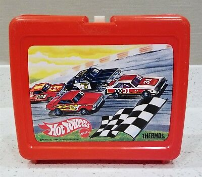 Vintage 80's Mattel Hot Wheels Plastic Thermos Lunchbox