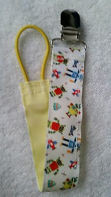 Baby Soother/Pacifier Holder w/Metal Clip/Tiny Robots