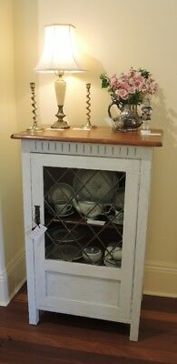 Vintage Australian Chalk Painted Diamond Pane Lead Light Door cupboard