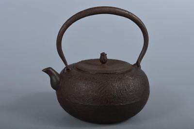 R5566: Japanese Old Iron Pine sculpture Shapely TEA KETTLE Teapot Tetsubin
