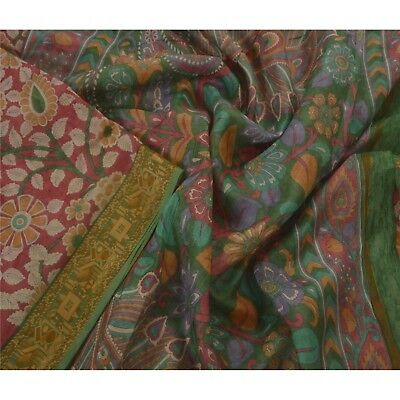 Sanskriti Vintage Pink Saree Pure Silk Kalamkari Printed 5 Yd Sari Craft Fabric