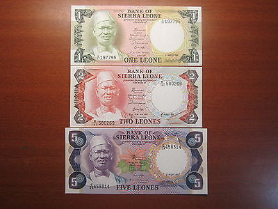 Reserve Bank Of Sierra Leone Bank Notes x3 Uncirculated One Two Five Leones