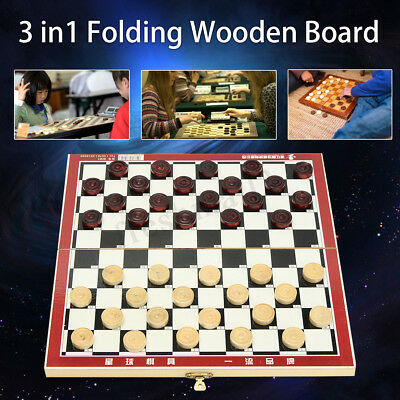29x29cm 3 in 1 Folding Wooden Chess Set Board Game Toy Kids  Backgammon Checkers