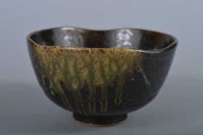 R5508: Japanese Tamba-ware Brown glaze TEA BOWL Green tea tool Tea Ceremony