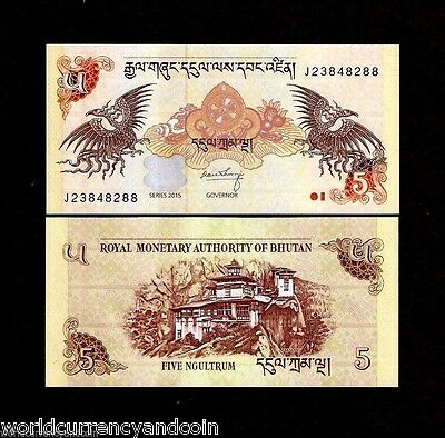 Bhutan 5 Ngultrum P28 2015 X 100 Pcs Lot Bundle Dzong Dragon Unc Money Bank Note