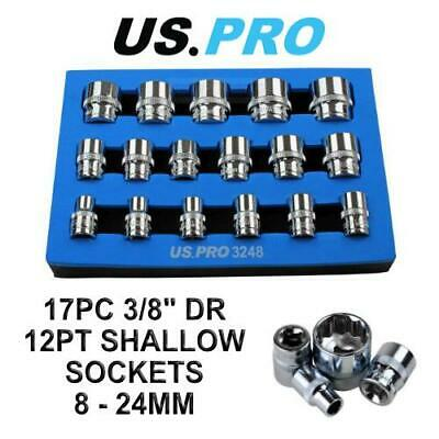 US PRO 17pc 3/8 Dr Shallow Sockets 12 Point 8 - 24mm 3248
