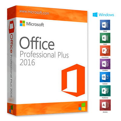 Microsoft Office 2016 Pro Professional Plus - Official Download & Key- 32/64 Bit