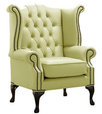 Chesterfield Armchair Queen Anne High Back Wing Chair Chartreuse Green Leather