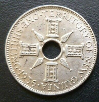 1936 New Guinea 1 Shilling. Very Good Condition Coin. Full Detail.