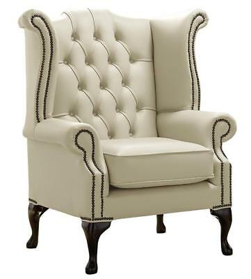 Chesterfield Armchair Queen Anne High Back Wing Chair Shelly Cream Leather