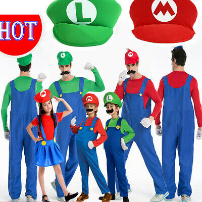 Men Adult Kids Women's Super Mario and Luigi Fancy Dress Cosplay Costume Outfit