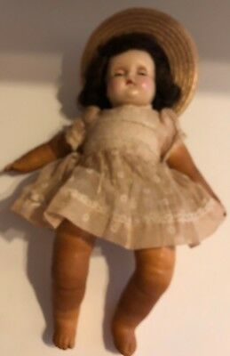 Vintage Madame Alexander Character Composition Doll 1930s Blue Eyes Rubber Limbs