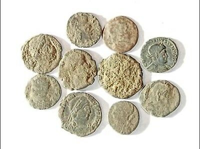 10 ANCIENT ROMAN COINS AE3 - Uncleaned and As Found! - Unique Lot 25936