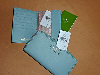 GUARANTEED NWT Authentic Kate Spade Leather WALLET & PASSPORT Holder SET Blue