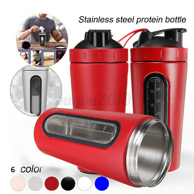 Stainless Steel 700ml Protein Shaker Bottle Blender Mixer Cup Visible Window