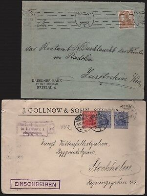 Germany Perfin Lot of 2 on Covers Different Design Faces