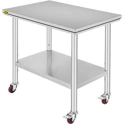 Stainless Steel Kitchen Prep & Work Table 4 Casters (Wheels) - 36 in. x 24 in.