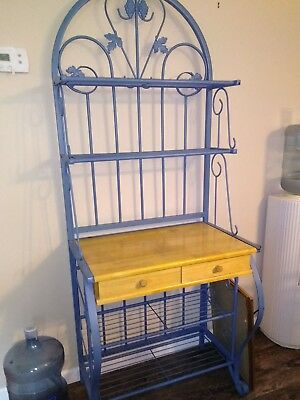 Bakers Rack With Storage Wrought Iron Blue Dining Room Storage Kitchen
