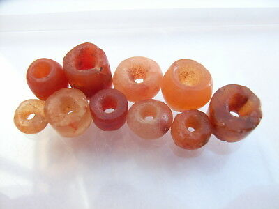 10 Ancient Neolithic Carnelian, Quartz Beads, Stone Age, VERY RARE !!