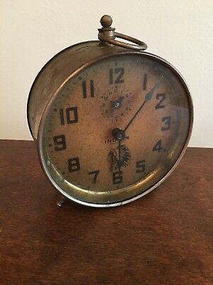 INDIAN CHIEF Table Top Alarm Clock Antique Collectible 1913 INGRAHAM
