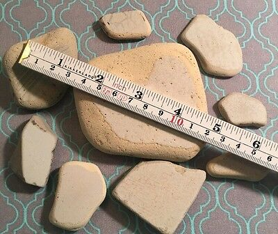 9 Large Pieces White Very Old Pottery Sea Glass Art Mosaic Crafts #232