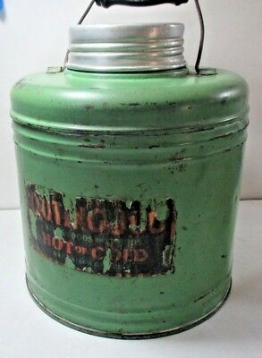 Vintage One Gallon Green Metal Water Jug With Ceramic Liner & Wood Handle 1940's