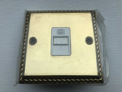 MK 1 Gang Pure Brass Antique Georgian Roped Edge GRID Switch Front Plate 4331POB