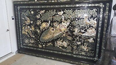 Black lacquer inlaid mother of pearl Antique Korean Armoire