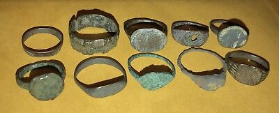 10 Unidentified Ancient Bronze Roman Medieval Authentic Coins Rings Lower Grade