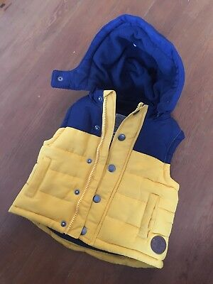 Mothercare Boys Yellow/ Mustard/ Navy Gillet Jacket 6-9months Great Condition