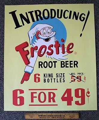 Frostie Root Beer 1939 Large Poster Sign ~ Introducing Frostie Root Beer