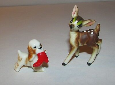 2 Miniature Porcelain Christmas Figures Doll w/Santa's Boot and Reindeer