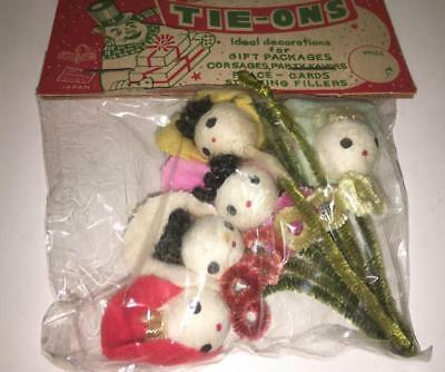 Vtg 50s  Christmas Tie-Ons Ornaments in pakcage  Pipe Cleaner chenille