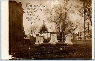 """1910s Lancaster WI RPPC Photo Postcard """"First Soldiers Monument Erected in U.S."""""""