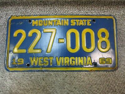 A+ 1969 West Virginia Mountain State License Plate