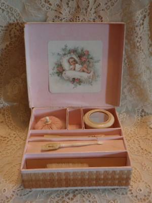 Sweet, 1920's? Baby, Infant, Doll Toiletry Set,  Swans Down Powder Puff, Nice!