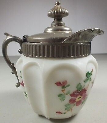 Antique Hand Painted Paneled Satin Opaque Glass Syrup Pitcher Silver Plate Lid