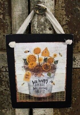 Country Primitive Bee Happy Kind Strong Sunflowers Rustic Handmade Wooden Sign