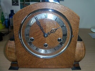 Vintage Wooden Striking and Chiming Mantle Clock. Three chain