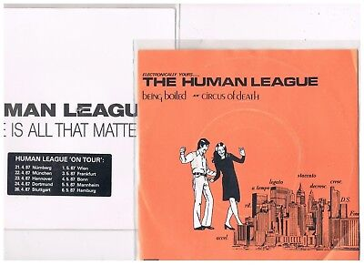 "2 x 7""  HUMAN LEAGUE - BEING BOILED / LOVE IS ALL THAT MATTERS - german PS"