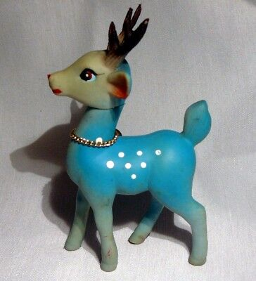 Rare Vintage Blue Rubber Deer Fawn Great Color! Made In Japan Christmas Decor