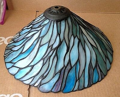 Vtg Tiffany Style Stained Slag Glass Lamp Shade Purple Blue Quoizel Collectible