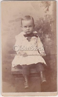 Cross-Eyed Little Boy with a Horse Whip Antique CDV Photograph Vesoul France