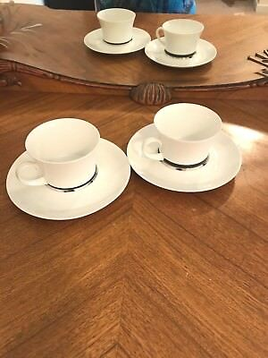 Block Platino Flat Cup & Saucer Set Fine China Made In Spain