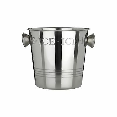 Premier Housewares Bombay Ice Bucket with Handles, Stainless Steel - Silver .