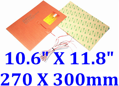 """10.6"""" X 11.8"""" 270 X 300mm 110V 500W 3D Printer Heated Bed Silicone Heating Pad"""