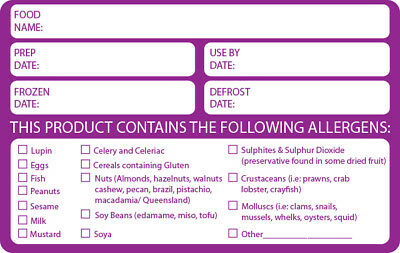 500 x FOOD ALLERGEN ALLERGY WARNING ALERT SAFETY STICKER/LABEL 500 PER ROLL FSA